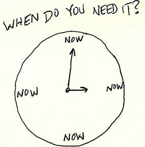 "mediating instantly represented by a clock with ""now"" used in place of numbers."